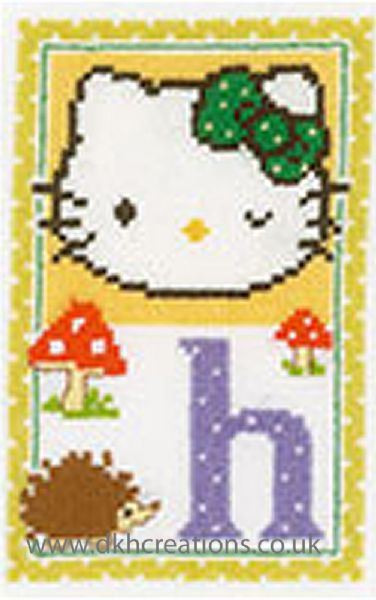 Hello Kitty Alphabet Letter H Cross Stitch Kit